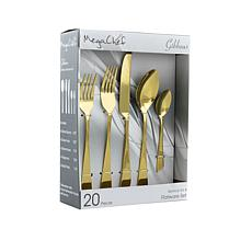 MegaChef Gibbous 20 Piece Flatware Utensil Set, Stainless Steel Sil...