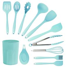 MegaChef Light Teal Silicone Cooking Utensils, Set of 12