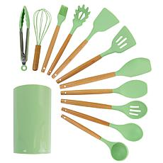 MegaChef Mint Green Silicone and Wood Cooking Utensils, Set of 12