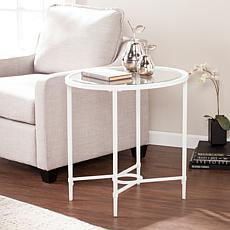 Melinda Metal/Glass Oval Side Table - White