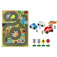 Melissa and Doug Jumbo Roadway Activity Rug With Vehicles Bundle