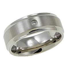 Men's 0.3ct Diamond-Accented Stainless Steel 8mm Wedding Band