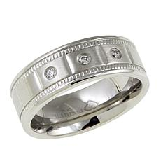 Men's 3-Diamond Stainless Steel 8mm Wedding Band