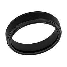 Men's 6mm Black Tungsten Satin Center Step Edge Band Ring