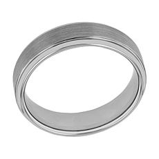 Men's 6mm Gray Tungsten Satin Center Step Edge Band Ring