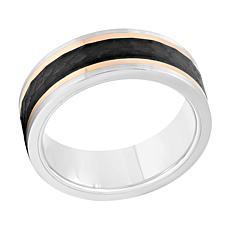Men's 8mm Tri-Tone Cobalt Hammered Band Ring