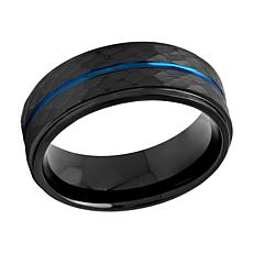 Men's 8mm Two-Tone Cobalt Hammered Step Edge Band Ring