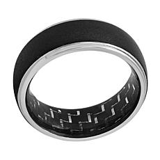 Men's 8mm Two-Tone Cobalt with Carbon Fiber Inlay Step Edge Band Ring