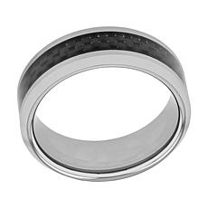 Men's 8mm Two-Tone Tungsten with Carbon Fiber Inlay Beveled Edge Ring