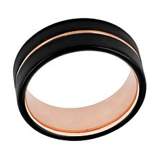 Men's Black and Rose-tone Tungsten Stripe Band Ring