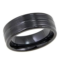 Men's Black Ceramic 8mm Grooved Wedding Band