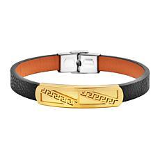 Men's Black Leather Bracelet with Stainless Steel Greek Key Design