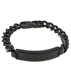 Men's Black Stainless Steel ID Bar Curb-Link Bracelet