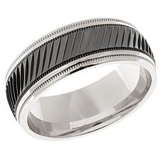 Men's Faceted and Milgrain 2-Tone 8mm Band Ring
