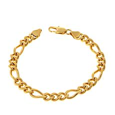 "Men's Goldtone Figaro Chain 8-1/2"" Bracelet"