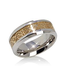 Men's Goldtone Filigree Inlay Stainless Steel Band Ring