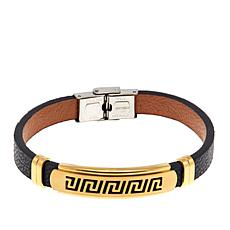 Men's Goldtone Stainless Steel Greek Key Leather ID Bracelet