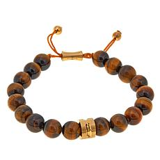 Men's Goldtone Tiger's Eye Bead Adjustable Bracelet