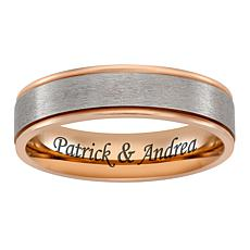Men's Rose Goldtone Titanium 2-Tone Engravable Band