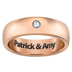 Men's Rose Titanium CZ Engraved Message Band