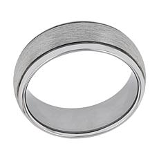 Men's Silver-tone Tungsten Frozen Satin Center Grooved Band Ring