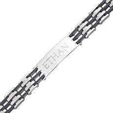 Men's Stainless Steel and Rubber Engraved ID Bracelet