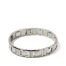 "Men's Stainless Steel and Tungsten Link 8-1/2"" Bracelet"