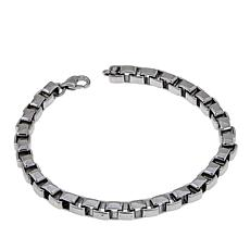 "Men's Stainless Steel Box Chain 8-1/2"" Bracelet"