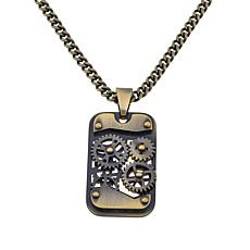 "Men's Stainless Steel ""Gear"" Dog Tag Pendant/Chain"
