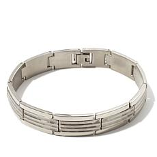 "Men's Stainless Steel Hammered Link 8-3/4"" Bracelet"