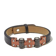 "Men's Stainless Steel Leather 2-Tone 9-1/4"" Bracelet"