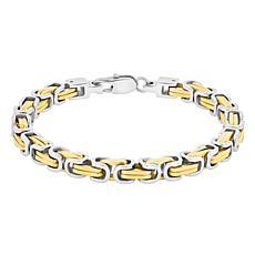 Men's Two-tone Stainless Steel Byzantine Link Bracelet