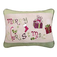 Merry Christmas Embroidered Pillow Brown
