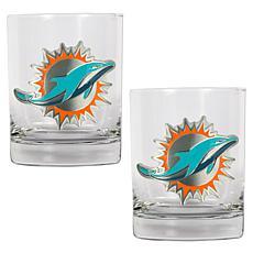 Miami Dolphins 2pc Rocks Glass Set