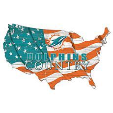 Miami Dolphins USA Shape Flag Cutout