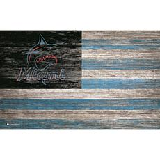 Miami Marlins  Distressed Flag 11x19