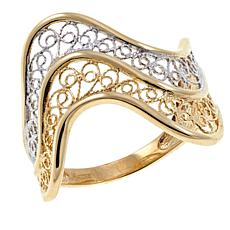 Michael Anthony Jewelry® 10K 2-Tone Filigree Swirl Ring