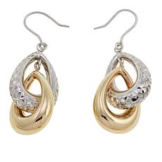 Michael Anthony Jewelry® 10K 2-Tone Pear Drop Double Hoop Earrings