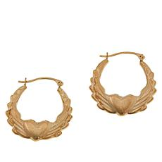 "Michael Anthony Jewelry® 10K Gold ""Wings of Love"" Hoop Earrings"
