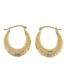 Michael Anthony Jewelry® 10K Hammered Oval Hoop Earrings