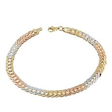 Michael Anthony Jewelry® 10K Tri-Color Fancy Foxtail Link Bracelet