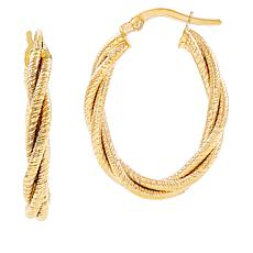 Michael Anthony Jewelry® 14K Braided Oval Hoop Earrings