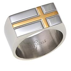 Michael Anthony Jewelry® 2-Tone Sideways Cross Stainless Steel Ring