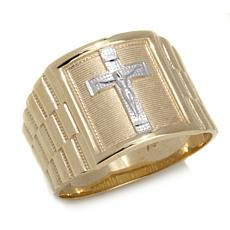 Michael Anthony Jewelry® Men's 10K 2-Tone Crucifix Ring