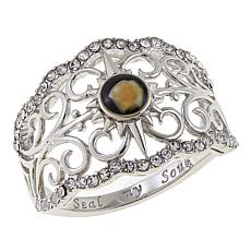 Michael Anthony Jewelry® Nativity Stone Crystal-Accent Scroll Ring