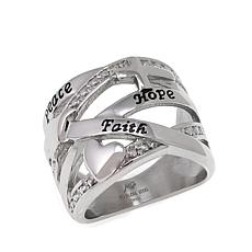 Michael Anthony Jewelry® Peace-Hope-Faith Stainless Steel Band Ring