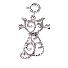Michael Anthony Jewelry® Sterling Silver Diamond-Cut Cat Pendant