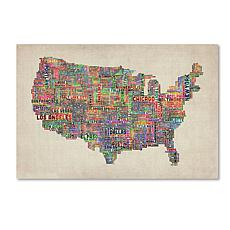 "Michael Tompsett ""US Cities Text Map VI"" Art- 16"" x 24"""