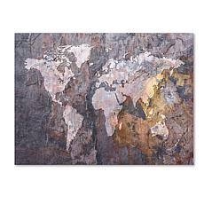 "Michael Tompsett ""World Map - Rock"" Canvas - 18"" x 24"""