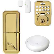 MiLocks MiEQ Smart Hub, Dead Bolt Lock & Door Sensor - Polished Brass